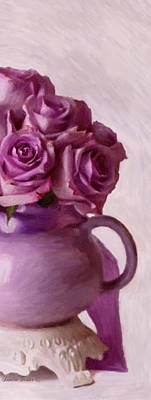 Lavender Roses And Tea Pot Art Print by Sandra Foster