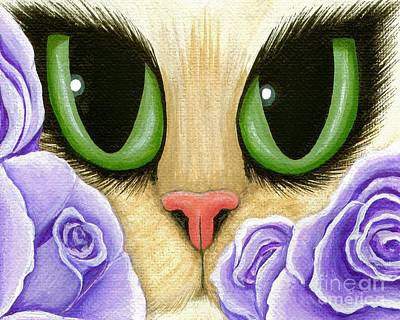 Art Print featuring the painting Lavender Roses Cat - Green Eyes by Carrie Hawks
