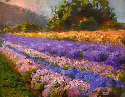 Oil Painting - Lavender Rows - Impressionistic Landscape Plein Air Painting by Karen Whitworth