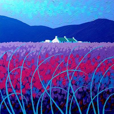Wheat Field Painting - Lavender Scape by John  Nolan