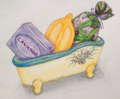 Provence Drawing - Lavender Soap In Provence by Jo lan Tao