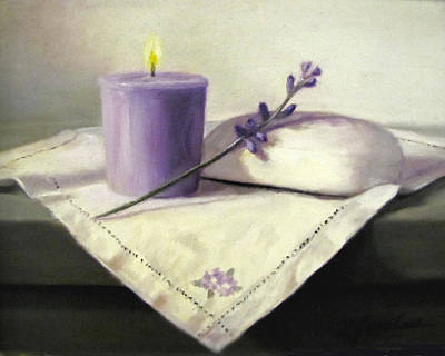 Candle Lit Painting - Lavender Sprig by Linda Jacobus