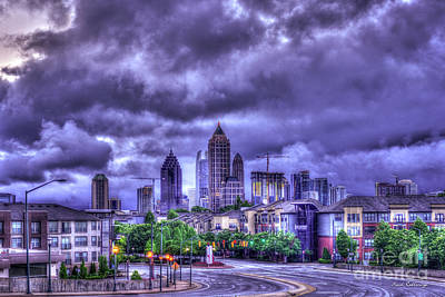Photograph - Lavender Sunrise Midtown Atlanta Construction Boom Art by Reid Callaway