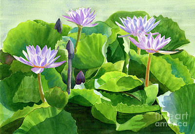 Lotus Leaves Painting - Lavender Water Lilies With Background by Sharon Freeman