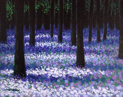 Irish Landscape Painting - Lavender Woodland by John  Nolan