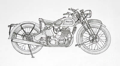 Final Four Drawing - Laverda Triumph by Stephen Brooks
