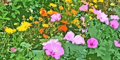 Easter Flowers Digital Art - Lavish Flower Garden Abstract by Linda Mears