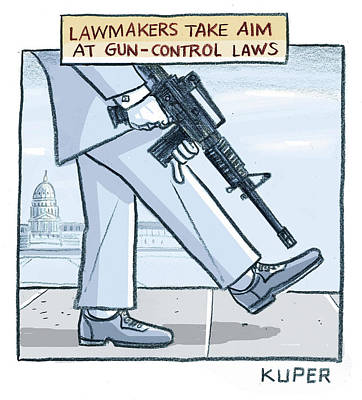 Drawing - Lawmakers Take Aim At Gun Control Laws by Peter Kuper