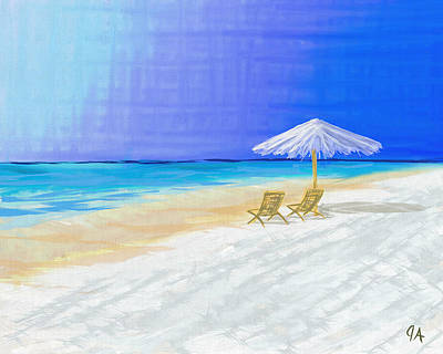 Digital Art - Lawn Chairs In Paradise by Jeremy Aiyadurai