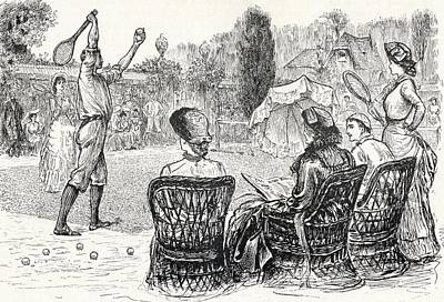 Tennis Drawing - Lawn Tennis In 1883 Engraved From The by Vintage Design Pics