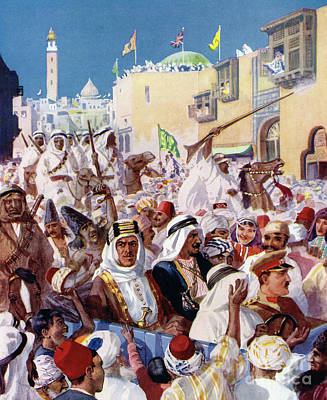 Painting - Lawrence Of Arabia Riding Through The Liberated City Of Damascus by English School