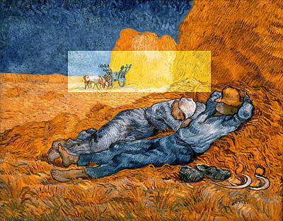 Digital Art - Layered 14 Van Gogh by David Bridburg