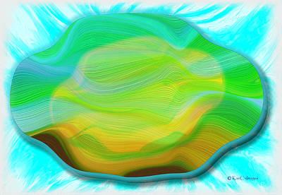 Digital Art - Layered Digital Abstract /aqua Background by Kae Cheatham