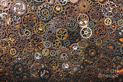 Photograph - Layers Of Different Cogwheels. by Michal Bednarek