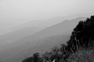 Photograph - Layers Of The Blue Ridge Mountains In Black And White by Kelly Hazel