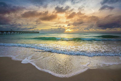 Photograph - Layers Of Waves At Sunrise by Debra and Dave Vanderlaan