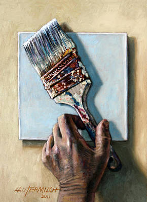 Painting - Laying Down The Paint Brush by John Lautermilch