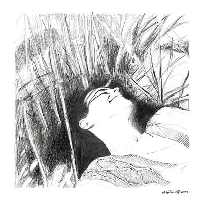 Drawing - Laying In The Grass by Marilyn Hilliard