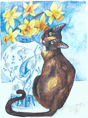 Painting - Layla Lu And Daffodils Too by Melinda Dare Benfield