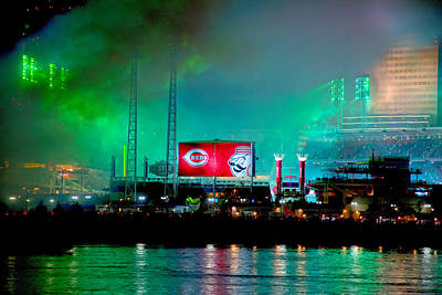 Laser Green Smoke And Reds Stadium Art Print by Randall Branham