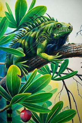 Painting - Lazin' Iguana by Christopher Cox