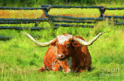 Longhorn Mixed Media - Lazing Longhorn by KaFra Art