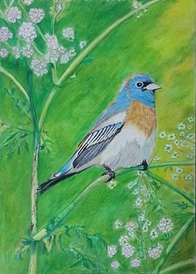Bunting Mixed Media - Lazuli Bunting Bird Painting by Vaibhav Salvi
