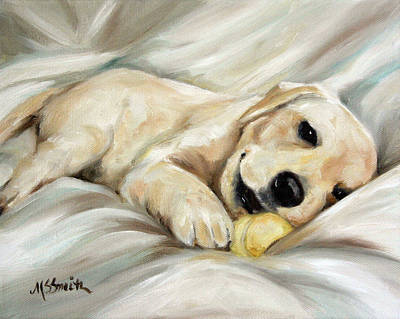 Sleeping Puppy Painting - Lazy Bones by Mary Sparrow