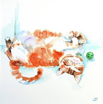 Painting - Lazy Cat by Zaira Dzhaubaeva