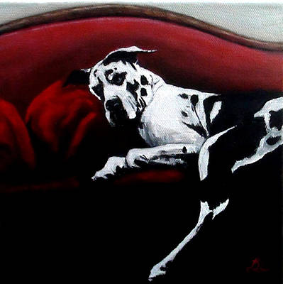 Great Dane Oil Painting - Lazy Dane by Elizabeth Barrett