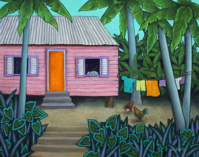 Tin Roof Painting - Lazy Day In The Caribbean by Lorraine Klotz