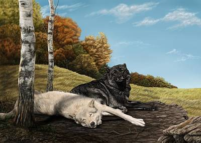 Wolves Digital Art - Lazy Day by Laura Klassen