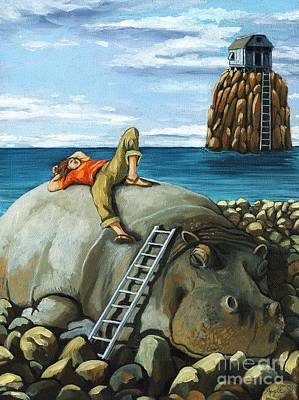Rocks Painting - Lazy Days - Surreal Fantasy by Linda Apple