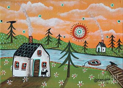 Primitive Folk Art Painting - Lazy Days by Karla Gerard
