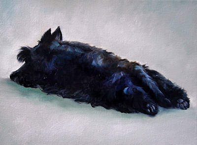 Sleeping Puppy Painting - Lazy Days by Mary Sparrow