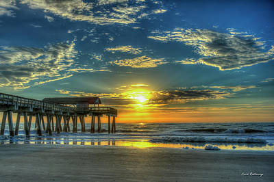 Photograph - Lazy Days Of Summer Sunrise Tybee Island Pier Art by Reid Callaway