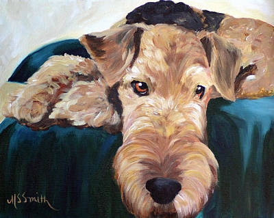 Airedale Terrier Painting - Lazy Daze by Mary Sparrow