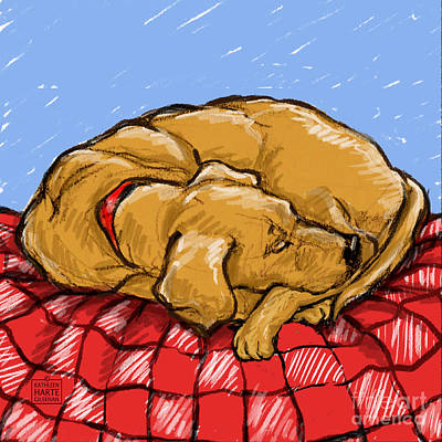 Puppy Mixed Media - Lazy Lab by Kathleen Harte Gilsenan