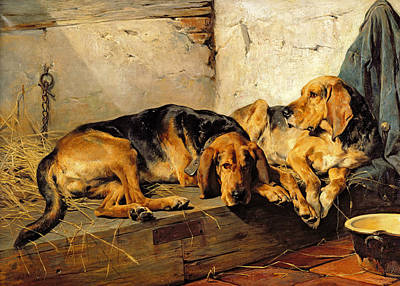 Lazy Dog Painting - Lazy Moments by John Sargent Noble