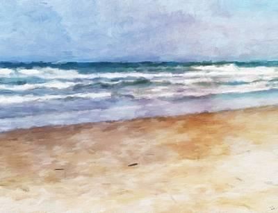 Oregon Coast Digital Art - Lazy Summer Day At The Beach by Katrina Britt