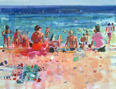 People On The Beach Painting - Lazy Sunny Afternoon by Peter Graham