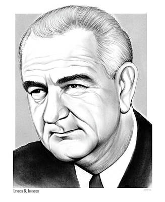 Drawing - LBJ by Greg Joens