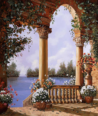 Balustrades Painting - Le Arcate Chiuse Sul Lago by Guido Borelli