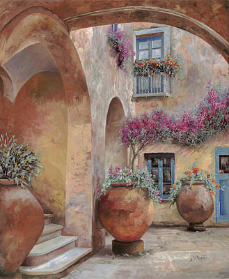 Red White And You - Le Arcate In Cortile by Guido Borelli