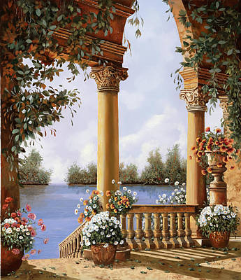 Vase Wall Art - Painting - Le Arcate Sul Lago by Guido Borelli