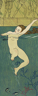 Nudes Drawing - Le Bain by Georges Barbier