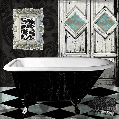 Checkerboard Floor Painting - Le Bain Paris II by Mindy Sommers