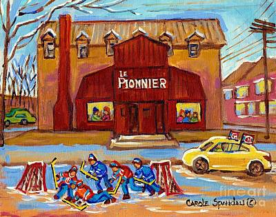 Painting - Le Bar Pionnier Lakeshore Drive Pierrefonds Restaurant Painting Montreal Landmarks C Spandau Art by Carole Spandau