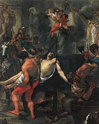St Charles Digital Art - Le Brun Charles Martyrdom Of St John The Evangelist At Porta Latina by Charles Le Brun