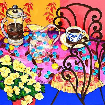 Table Cloth Painting - Le Cafe De Paris  by Jacqueline Kern